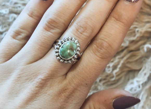 Deep Green Round Turquoise Ring Sz. 6 1/2