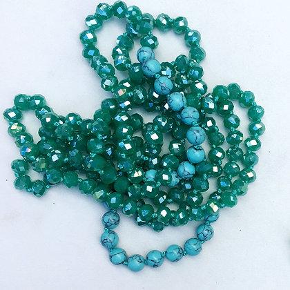 "Jade Aqua 60"" Hand Knotted Beads"