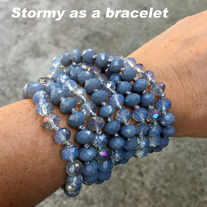 "Stormy Clear 60"" Hand Knotted Beads"