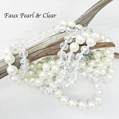 """Faux Pearl & Clear 60"""" Hand Knotted Beads"""