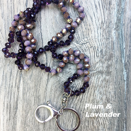 Plum and Lavender Hand knotted Lanyard Keyring