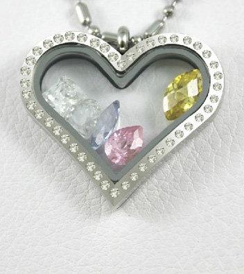 Heart Floating Locket - Silver w/Stones