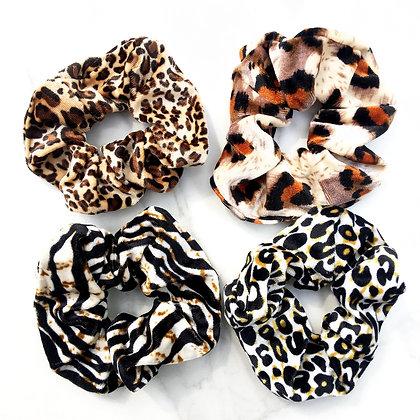 Velvet Animal Print Scrunchies