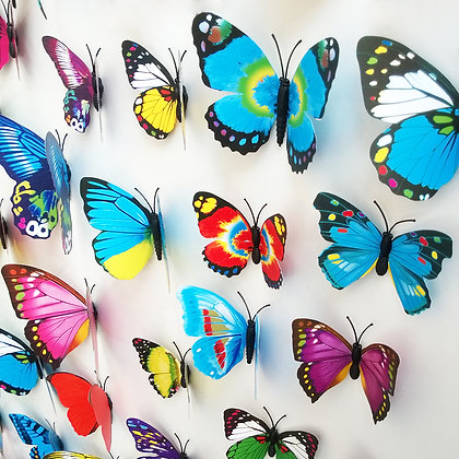 Butterfly 3D Decals/Magnets (Pack of 12)