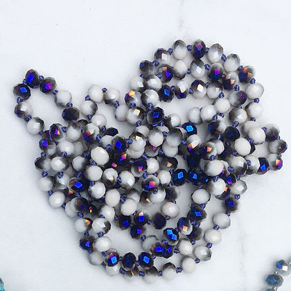 "Blue Cloud 60"" Hand Knotted Beads"
