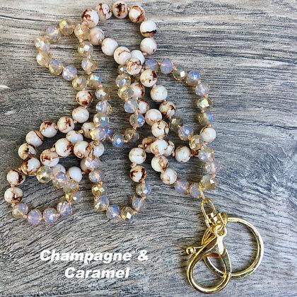 Champagne & Caramel Hand knotted Lanyard Keyring