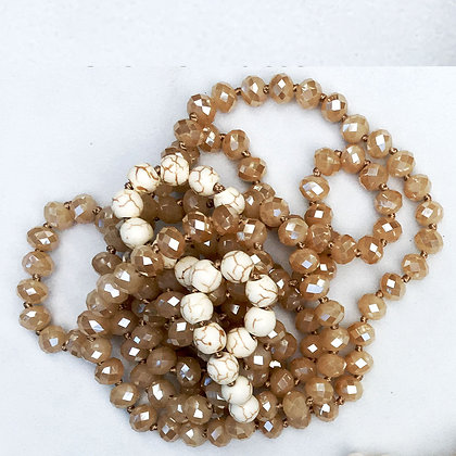 """Creme` Latte 60"""" Hand Knotted Beads"""