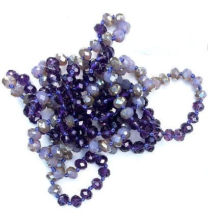 "Plum Linen 60"" Hand Knotted Beads"