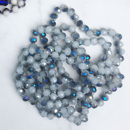 "Blue Haze 60"" Hand Knotted Beads"