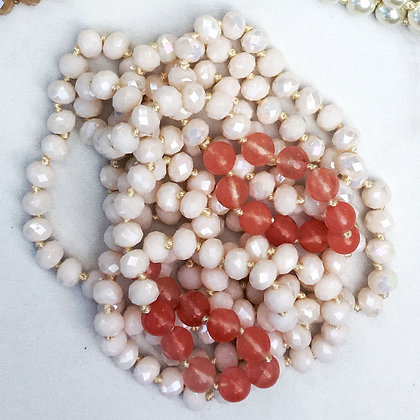 """Pink Chablis 60"""" Hand Knotted Beads"""