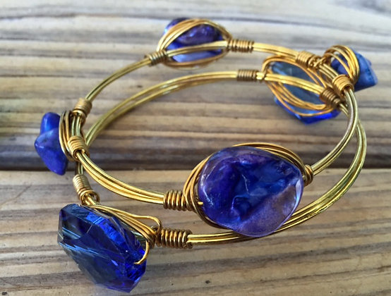 Blue Mother of Pearl Bangle 2pc Set