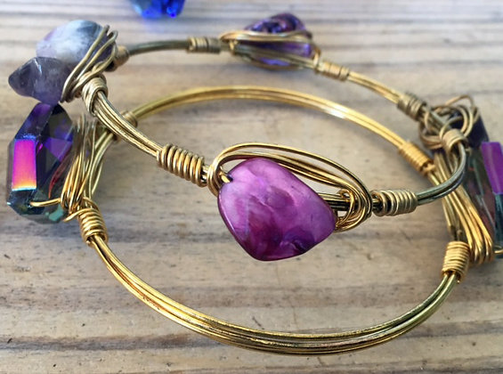Purple Mother of Pearl Bangle 2pc Set