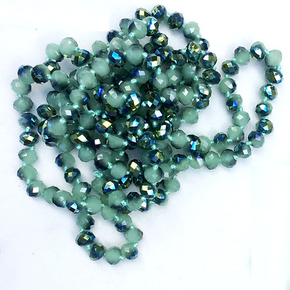 "Green 60"" Hand Knotted Beads"