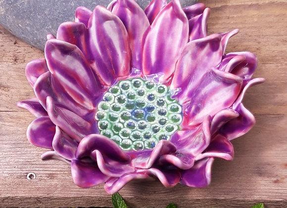 Mauve Flower Bowl, 21 cm wide.