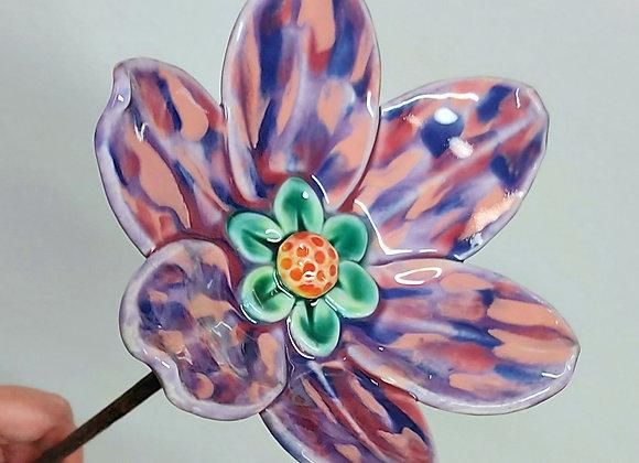 Small Lilac Speckled Ceramic Garden Flower