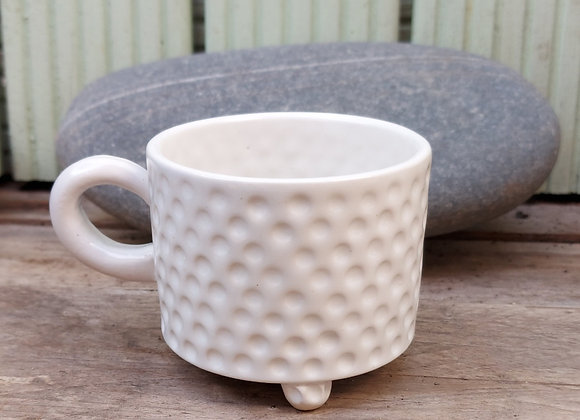 White Stoneware Cup with Dimples