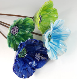 Small Ceramic Poppy and Tulip Garden Flowers by Renee Kilburn Ceramics, 55 cm tall