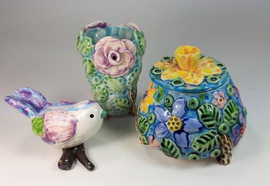 Bird Vase and Lidded Pot.