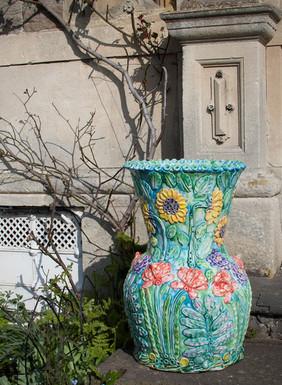 Sunflowers and Tulips Garden Urn.