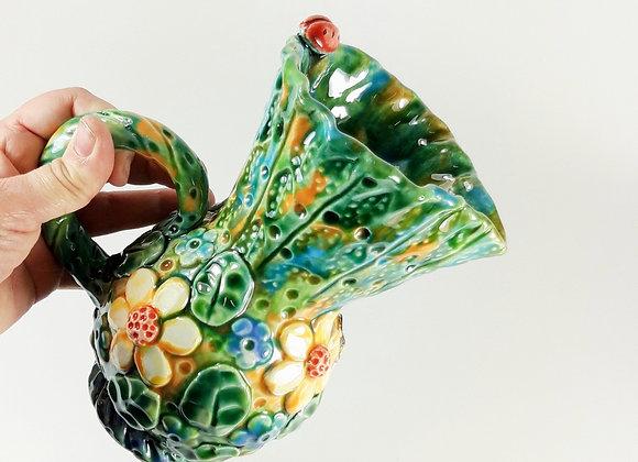 Green Ceramic Jug with Spring Motif and Ladybird