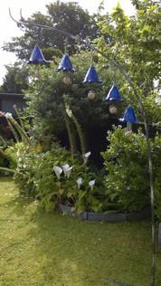 Bluebell Bird Feeder Hanging Ceramic Flowers Sculpture by Renee Kilburn Ceramics