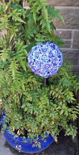Cobalt Blue Ceramic Flower Buddleija Garden Sculpture by Renee Kilburn Ceramics, 65 cm tall.
