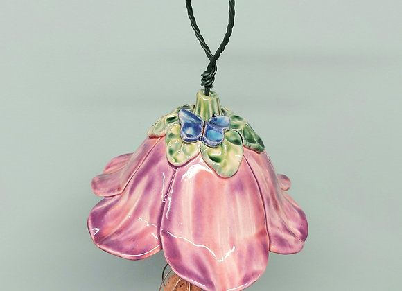 Hanging Pink/Lilac Flower Bird Feeder with Blue Butterfly