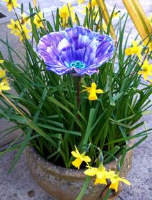 Small Purple Ceramic Garden Poppy Flower by Renee Kilburn Ceramics, 55 cm tall.