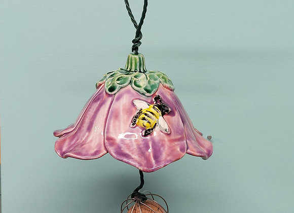 Hanging Pink/Lilac Flower Bird Feeder with Bee