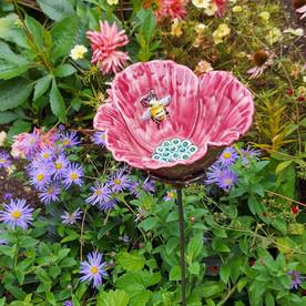 Pink Poppy with Bee Garden Flower by Renee Kilburn Ceramics. 85 cm tall.