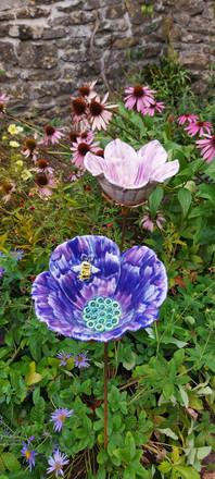 Purple Poppy with Bee Garden Water Bowl on Stem by Renee Kilburn Ceramics. 85 cm tall.