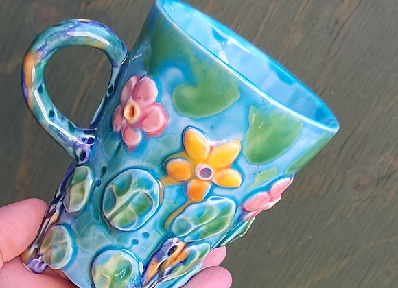 Ceramic Cup on Three Feet with Wild Flower Design