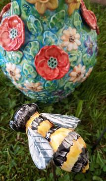 Garden Bee Sculpture on Iron Stem by Renee Kilburn Ceramics