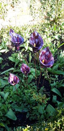 Purple Calla Lillies Ceramic Flowers Garden Sculptures by Renee Kilburn Ceramics