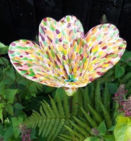 Speckled Lily Ceramic Flower Garden Sculpture by Renee Kilburn Ceramics