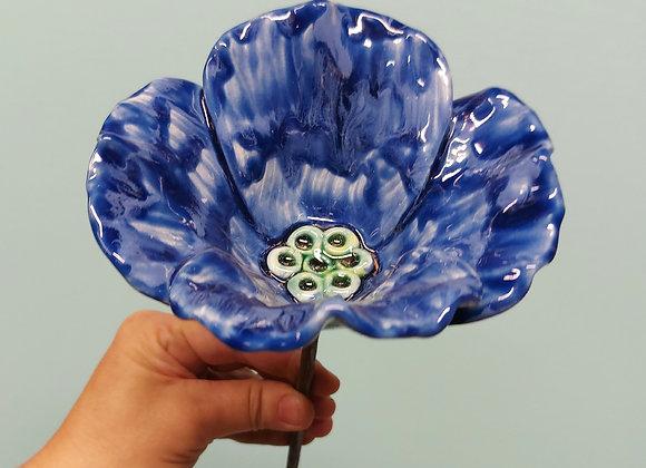 Small Cobalt Blue Ceramic Poppy