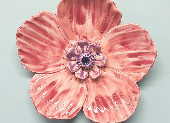 Pink Large Wall Hanging Flower Sculpture, 29cm wide.