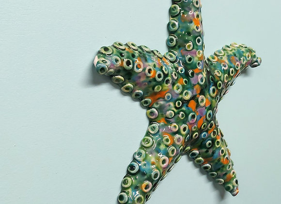 Copper Green Star Fish Wall Sculpture