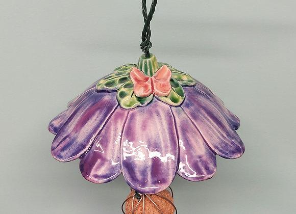 Hanging Purple Flower Bird Feeder with Pink Butterfly