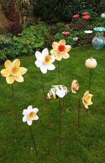 Daffodils Garden Flower Sculptures by Renee Kilburn Ceramics