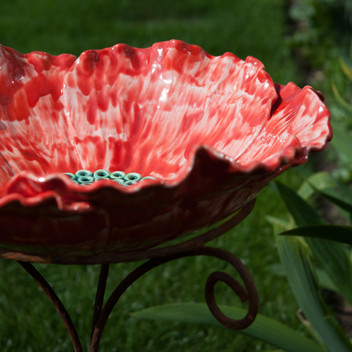 Red Poppy Bird Bath Ceramic Flower Garden Sculpture on Iron Base by Renee Kilburn Ceramics