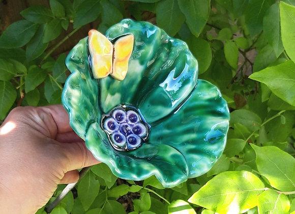 Small Copper Green Ceramic Poppy