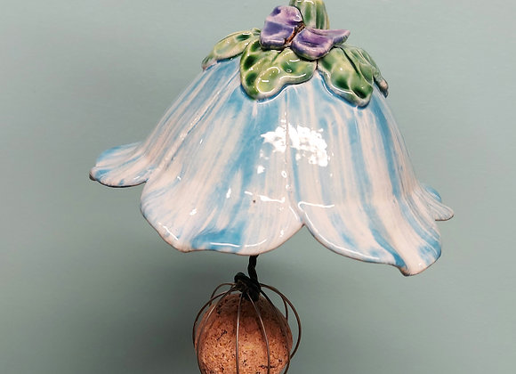 Hanging Light Blue and White Flower Bird Feeder with Purple Butterfly