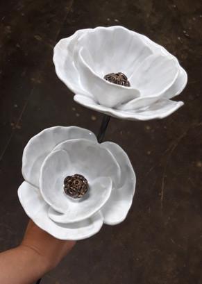 White Poppies Ceramic Flower Garden Sculptures by Renee Kilburn Ceramics, 80 cm tall.
