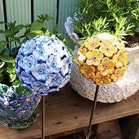 Ceramic Blue Hydrangea and Yellow Buddleija Garden Flower Sculptures by Renee Kilburn Ceramics