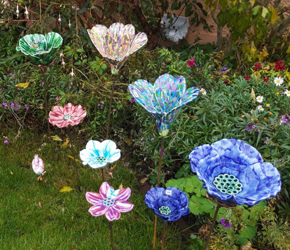 Mixed Large 85cm and small 55cm Ceramic Garden Flowers by Renee Kilburn Ceramics