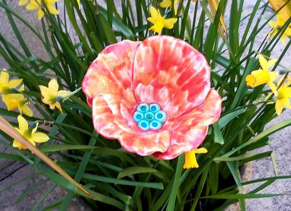 Small Ceramic Orange Poppy