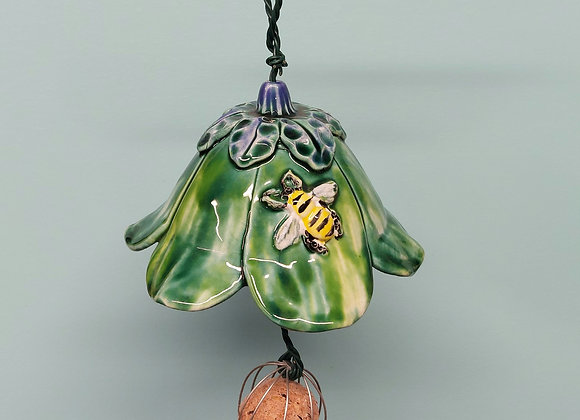 Green Bird Feeder with Bee