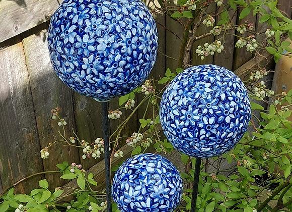 Cobalt Blue Allium Globe Set of 3
