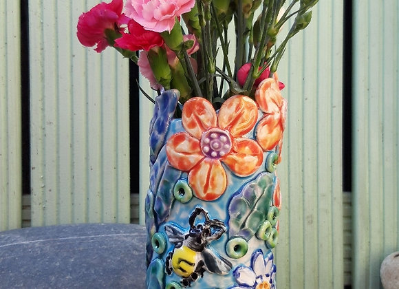 Vase with Flowers and Bee